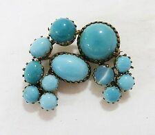 Vintage Austria brooch pin turquoise cabochon stones signed