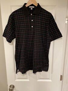 Peter Millar Polo Shirt Mens Size Medium Short Sleeve Black Check Cotton