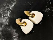 Lovely Gold Tone Ivory Dangle Transformers Lucite Earrings by Trifari Jewellery