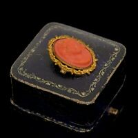 Antique Vintage Nouveau 14k Yellow Gold Filled GF Faux Coral Cameo Pin Brooch