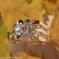 AGNES CREATIONS / BAGUE HOMME PL/OR 14 K DIAMANTS cz 1 carat Taille 60