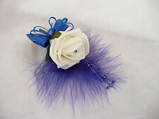 Artificial Flower Ivory & Royal Blue  Corsage/buttonhole/wedding Flower - PIN ON