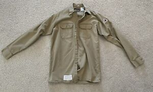 Men's M Medium BULWARK FR Flame Resistant Khaki Workwear Long Sleeve Shirt