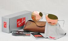 Ray-Ban 3025 RB3025 019/Z2 Matte Silver Frame Aviator Pink/Brown mirror 58mm