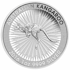 2016 1oz $1 AUD Australian 999.9/1000  Fine Silver Kangaroo Bullion Coin BU...