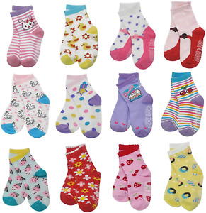 HYCLES 12-36 Months Non Skid Toddler Girl Boy Socks 12 Pairs Infant Baby Grips