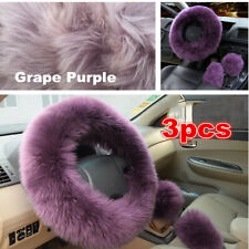 3PCS Plush Fur Fluffy Car Steering Wheel Cover Handbrake Cover Gear Knob Cover