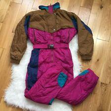 Vintage 80s 90s Odyssey Ski Suit Snow One piece Snowsuit Youth Kids Girls 12
