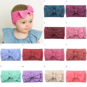 Baby Bow Headbands Girl Infant Toddler Newborn Soft Top Knot Turban Hair Wrap AU