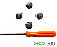 Black ABXY XBox 360 Controller Buttons + Torx T8 Screwdriver Mod Set Parts Kit