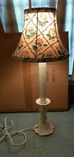 Vintage Shabby Chic LAMP & Bulb Clip SHADE FLORAL Fabric with Iron Base WORKS!
