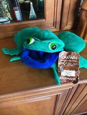 Folktails Folkmanis Green Frog ~ Blue Tadpole Plush Reversible Hand Puppet Euc