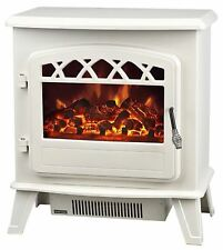 Galleon Fires Castor Electric Stove Heater with Log Flame Effect Fire Cream