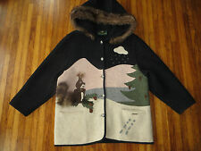 Giesswein Austria Winter Wool Embroidered Sweater Coat Jacket Rabbit Sz 10 EUC
