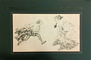 Norman Lindsay 1969 Bookplate Lithograph on Paper with Lithograph Initials