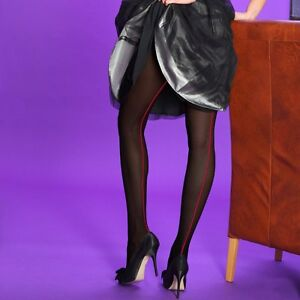 Opaque Contrast Back Seam Seamed Tights by Silky Black Purple White Red
