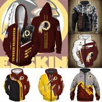 Washington Redskins Hoodie Zipper Hooded Football Sweatshirt Men's Casual Jacket
