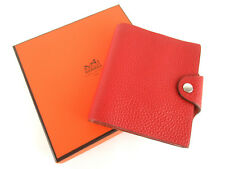 """Authentic Hermes Red Leather 4.5"""" x  4.1"""" Agenda Note Cover + Note Book, Box"""