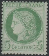 "FRANCE STAMP TIMBRE N° 53 f "" CERES 5c VERT-JAUNE FOND LIGNE "" NEUF xx TB SIGNE"
