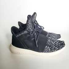 Adidas Sz 6 Black Grey Tubular Defiant Snake Knit Running Shoes w Leather Upper