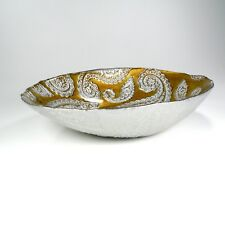 Bowl Goldtone/Silver Paisley Glass Collectible Home Decorative