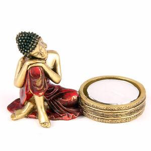 Neu+BuddhaFigur+Asien+Buddhafigur+2er Set+Rot+Gold+Thai Buddha+Teelichthalter