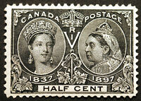 Canada #50 1/2cent Black 1897 Jubilee Issue  VF *MLH* small thin CV $150+