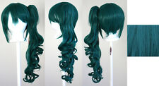 23'' Curly Pony Tail Clip Viridian Green Cosplay Wig Clip Only NEW