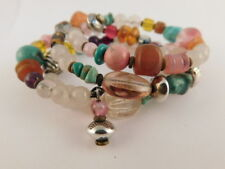 Natural Stone Sterling Silver Art Glass Bead Bracelet Artisan Handcrafted