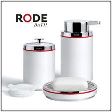 RODE 3pc BATHROOM ACCESSORY SET Designer Soap Dish Dispenser Tumbler White Red