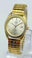 Men's ACQUA by Timex Classic Gold Tone Dress Watch, Date, Fluted Bezel, Quartz