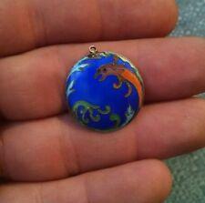 Stunning Vintage Sterling Silver enamel Cloisonne Asian style dragon pendant