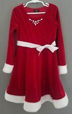 Girl's Size 7 Red Velvet Christmas Santa Style Dress with White Trim