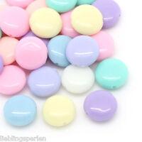 200 Mix Acryl Bonbonfarbe Spacer Perlen Beads Flachrund Scheiben 12x5mm L/P