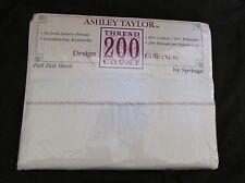 New Vintage No-Iron Ashley Taylor Springs Full Flat Sheet 200 TC Ivory & Gold