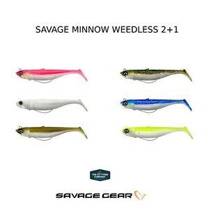 Savage Gear savage Minnow Weedless 2+1 Soft Bait Lure 10CM & 12.5CM, 16g 28g