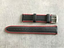 Timex 20mm Black Leather Replacement Strap With Red Sides & Silver Buckle