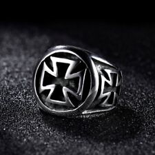 Cool Charms Mens Silver Stainless Steel Gothic Punk Cross Rings Band Jewellery
