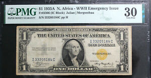 1935-A $1 WWII NORTH AFRICA EMERGENCY ISSUE SILVER CERTIFICATE PMG 30 VERY FINE
