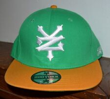 ZOO YORK LOGO GREEN & YELLOW Snapback Flat Bill Baseball Hat Cap Embroidered