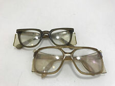 VINTAGE LOT OF 2 SAFETY GLASSES WITH PLASTIC MESH SIDE PROTECTORS