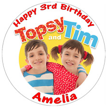 """Topsy And Tim CBeebies Cake Topper 7.5"""" Personalised  Edible Wafer Paper"""