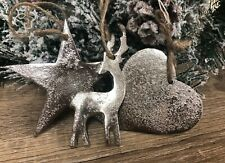 Silver Metal Christmas Tree Decorations Reindeer | Star | Heart - Set 3 2257