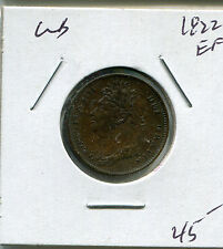 1822 Great Britain Farthing Extra Fine EF Gerogius IIII IV Dei Gratia FID DEF