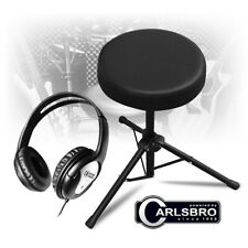 More details for adjustable folding drum stool padded throne guitar seat with practice headphones