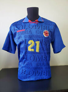 Colombia 1997 Match Worn Football Jersey Shirt -  Soccer Camiseta - #21 Asprilla