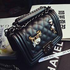 Womens Quilted PU Leather badge Shoulder bag Handbag Messenger Small chain bag