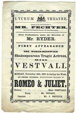 More details for 1867 lesbian actress felicita vestvali plays romeo ! lyceum theatre programme