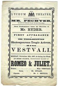 1867 LESBIAN actress Felicita Vestvali plays ROMEO ! Lyceum Theatre programme