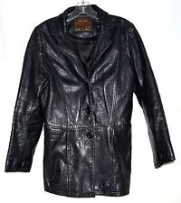 Classic Design Genuine Leather Originals Black Womens Fitted Jacket Size L